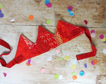 IVY Patchwork Fabric Crown in red