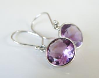 Estate Sterling Silver 925 Natural Brazilian Amethyst Open Bezel Drop Dangle Classic Earrings