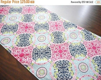Christmas in July Sale Damask Table Runner Wedding Quilt Pattern Floral Circles Navy Blue Hot Pink Lime Green Turquoise Summer Buffet Revers