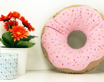 Candy Pink Iced Doughnut Cushion, Donut Throw Pillow, Plush Doughnut, Food Plush, Nursery Decor, Kids Room Decor, Cake Plushie, Kids Cushion
