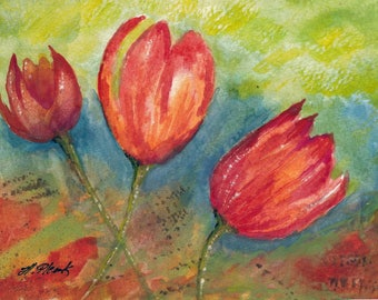 Tulips #3 - Painted in watercolor Greeting Card