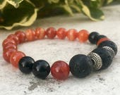 Carnelian, Black Tourmaline Gemstone And Lava Diffuser Bracelet, Aromatherapy Jewelry, Chakra jewelry, Healing Properties, Natural Remedy