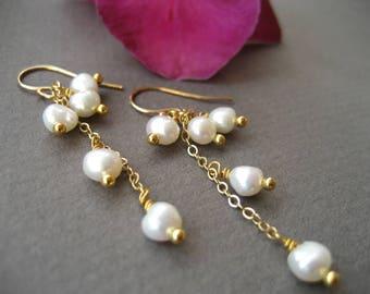 Pearl Cluster Earrings for your White Summer Dress, Bridal Earrings Long, 14K Gold Filled Dangle Earrings Made In Sweden,Bridal Wedding Prom
