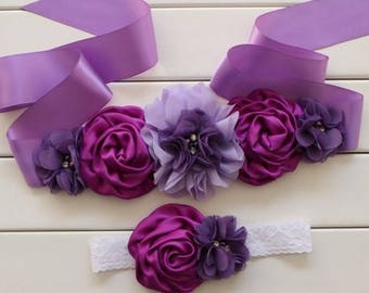 Girl child baby satin Rhinestone flowers wedding dress flower girl maternity birthday baptism sash belt and headband purple lace 2pc