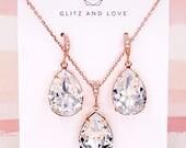 Rose Gold Wedding Bridal Swarovski Crystal Teardrop Earrings, Bridesmaid Necklace Wedding Brides Earrings, Silver Rose Gold, Carrie E115
