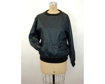 1980s windbreaker quilted nylon pullover black Gloria Vanderbilt Jrs. zip pockets Size M