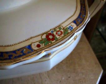 Vintage W.H. Grindley England Large Octagonal Ivory Soup or Vegetable Tureen Dish Floral Border
