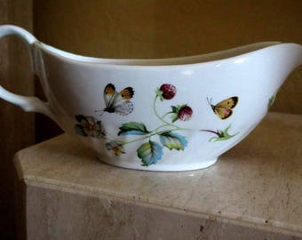 Vintage James Kent Staffordshire Porcelain Old Foley Strawberry and Butterfly Gravy Boat Green Trim