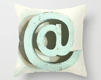 At Sign, Email, Symbol, Communication, Throw Pillow, Trendy Pillow, Bed Decor, Cottage Home, Aqua Pillow, Living Room Decor, Whimsical Decor