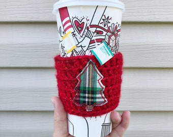 Coffee Sleeve, Cup Cozy, Crochet Cup Cozy, Buffalo Plaid, Coffee Cozy, Reusable Coffee Cozy, Cup Sleeve, Stocking Stuffer, Coffee Lover Gift