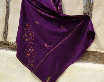 """Deep Purple Pashmina shawl/stole.  Kashmir.  Pure wool. 84 inches long by 40"""" wide."""
