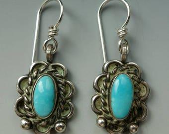 Vintage Navajo Turquoise Sterling Earrings