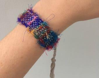Handwoven Recycled Silk  Bracelet // multicolored / rainbow / blue/ red / upcycled / zero waste / sustainable / boho