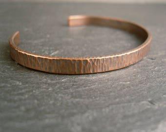 Hammered copper cuff bracelet, narrow open bangle, bark texture, women's bangle, men's cuff, copper wedding anniversary, free UK shipping