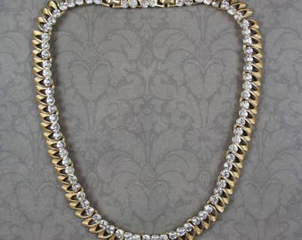 Vintage Trifari Twin Clasp Brushed Gold Loop Clear Rhinestone Necklace