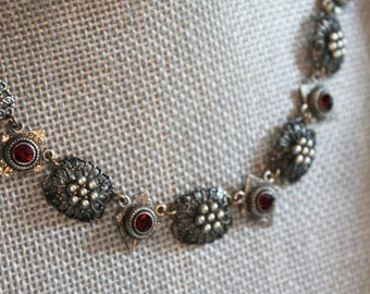 Vintage Silver Filigree Garnet Rhinestone Necklace with Oxidized Sterling Silver Chain