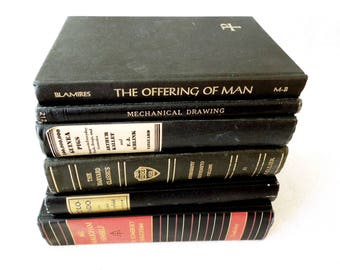 Vintage Rustic Books for Decor Black - Instant Library - Black Book Stack - Masculine Bookshelf Decor