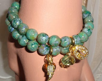 Green earth Picasso beads pave wing and cross bracelet set with gemstone drops Sacred Jewelry Pamelia Designs