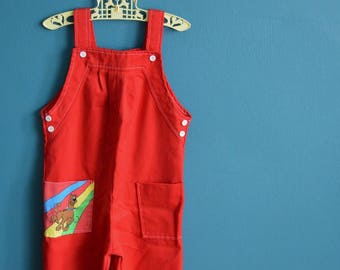 Vintage 1970s 1980s Red Scooby Doo Overalls - Size 5