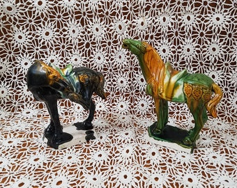 Chinese Horse Figurines, Chinese Sancai Glazed Tang Dynasty Style War Horse Flambé Drip Glaze Reproduction Figurines