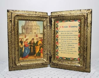 Vintage A House Blessing Italian Florentine Book. Catholic Christian Prayer. Housewarming or Wedding gift. Gold White. Raphael Marriage art.