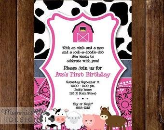 20% OFF SALE Pink Farm Animals Birthday Party Invite - Farm Party - Barn Party - Bday Invite - PRINTABLE Invitation Design