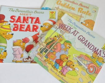1 Set of 3 Vintage Berenstain Bears Books - BB and the Week at Grandmas, Meet Santa Bear, and the Golden Rule - Mama, Papa, Brother, Sister