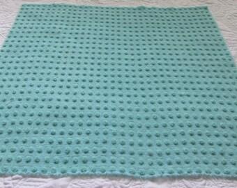 "Bates Aquamarine Pops Vintage Chenille Bedspread Fabric 22"" x 23"""