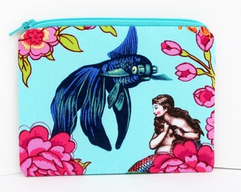Small Zippered Pouch, Lost Atlantis Mermaid, Fantail Fish, Tokyo Milk, Coin Purse