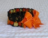 "Pet Bandana, Dog Ruffle Collar, Halloween Witchy Pumpkins Dog Scrunchie - big orange bow - Size L: 16"" to 18"" neck"