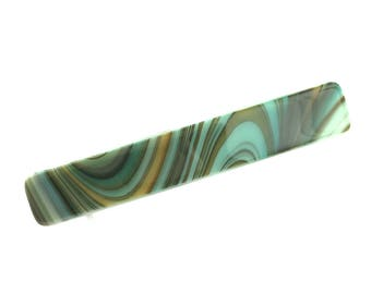 Hair Barrette French Clip, Turquoise, Orange, Brown Art Glass, Curvy Stripes