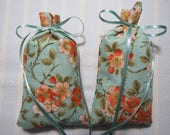 "Turquoise 4""X2"" Sachet-'Orange Blossom' Fragrance-Metallic Orange Floral Sachet-Cotton Fabric Botanical/Herbal Sachet-Cindy's Loft-078"