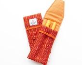 Double Pen holder, Fountain Pen case, orange striped HARRIS TWEED, handmade in Scotland, Scottish gift