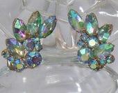 SALE Vintage AB Rhinestone Earrings.  Aurora Borealis Rhinestones Earrings.