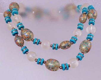 SALE Vintage Painted Turquoise Blue Glass Necklace.  Vintage Glass and Handpainted Frosty Bead Necklace.