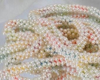"SALE Vintage Super Long Flapper Necklace. 56"" Pink Blue Yellow Pearl Flapper Necklace."