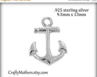 7% off SHOP SALE 2 Bali Sterling Silver Bright Anchor Charms, 13mm x 9.5mm, artisan-made supplies, precious metals