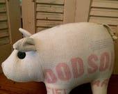 Primitive feedsack pig vintage