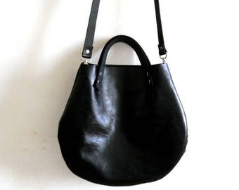 OnSALE Black  Leather basket hand bag ,Cross-body Bag, Every day leather bag- Glossy finish