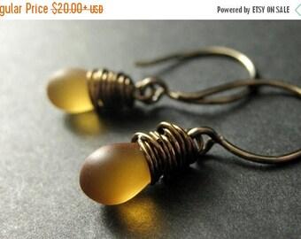 SUMMER SALE Clouded Amber Earrings: Teardrop Earrings Wire Wrapped in Bronze - Elixir of Nectar. Handmade Earrings.