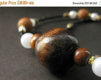 SUMMER SALE Brown Lanyard. Wooden Lanyard. Beaded Lanyard Id Badge Holder. Handmade Lanyard. Wood Lanyard or Eyeglass Chain.
