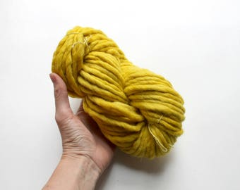 Naturally Dyed Marigold Yarn, Super Bulky Yarn 100gm, Hand Dyed Wool Alpaca Yarn, Plant Dye Chunky Yarn, Knit Natural Dye, Flower Dyed Yarn