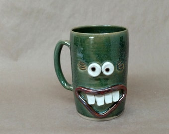 Jumbo 32 Ounce Handmade Pottery Mug in Green. Microwave and Dishwasher Safe UgChug Cup by Nelson Studio of Alabama. Mother's Day Gift.