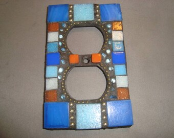 MOSAIC Electrical Outlet COVER , Wall Plate, Wall Art, Shades of blue, gold, orange, white