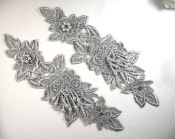 "Venice Lace 3D Silver Applique Floral Venise Lace with Crystal Rhinestones and Pearls Dangles 10"" (DH104X-slcrp)"