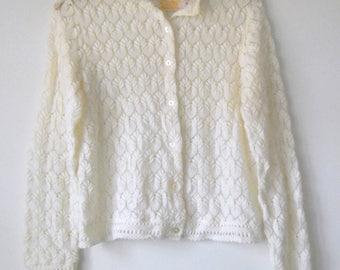 Vintage Japan Cardigan Sweater • Vintage White Montgomery Ward Sweater • Vintage Carol Brent Sweater