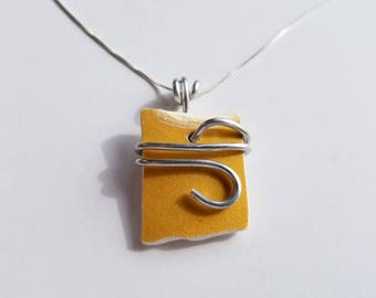 Yellow Sea Pottery Necklace handmade with sterling Chain and silver aluminum bale