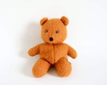 "Vintage 1970s Plush Toy / Animal Fair Orange Teddy Bear 9.5"""