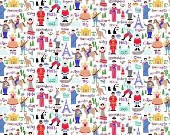 Hello World Fabric Children Around the Globe Multi Language