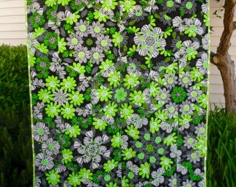 Bright Green, Black, White Stack and Whack Lap Quilt, 44 wide x 59.5 long Great for naps on the couch or take on a picnic.